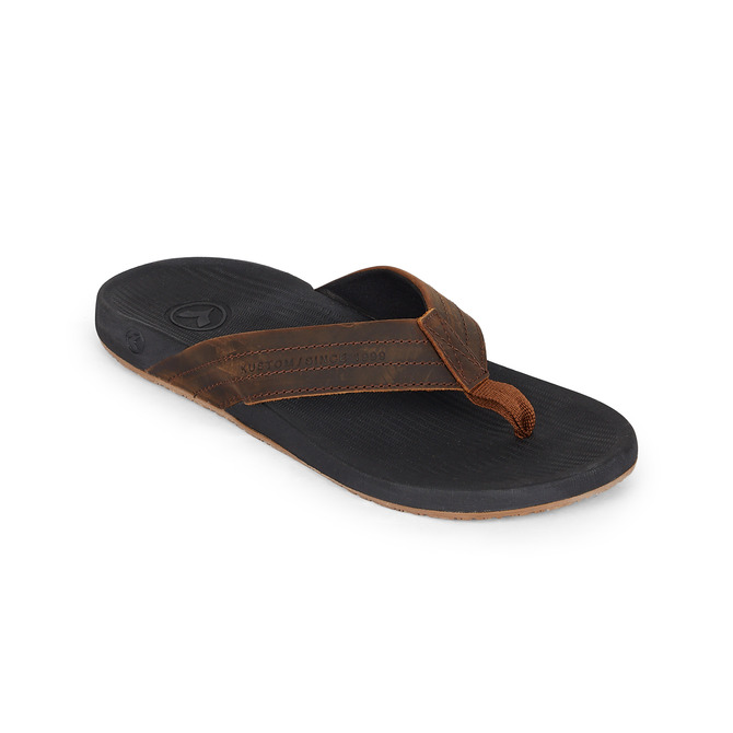 KUSTOM THONGS CRUISER / BLACK BROWN LEATHER
