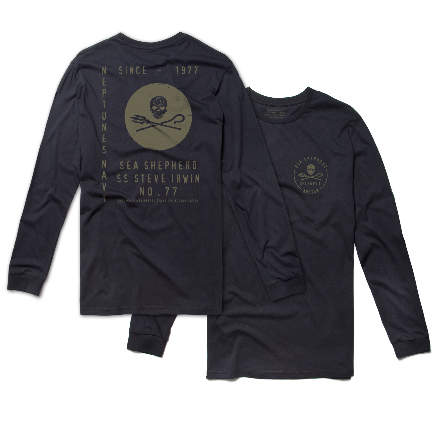 KUSTOM CLOTHING & ACCESSORIES SS NEPTUNES NAVY LONG SLEEVE T-SHIRT